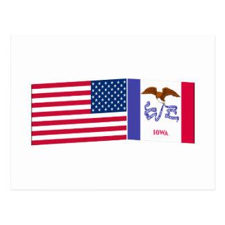 Banderas de Estados Unidos y de Iowa Postal