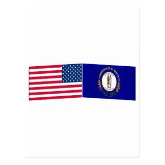 Banderas de Estados Unidos y de Kentucky Tarjeta Postal