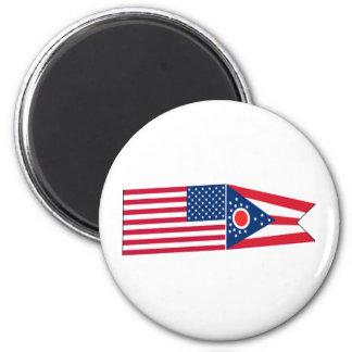 Banderas de Estados Unidos y de Ohio Iman Para Frigorífico