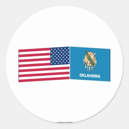Banderas de Estados Unidos y de Oklahoma Etiqueta Redonda