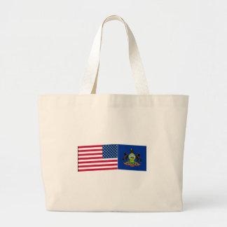 Banderas de Estados Unidos y de Pennsylvania Bolsas Lienzo