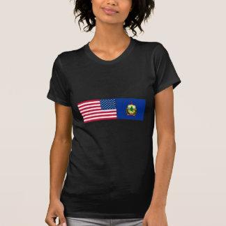 Banderas de Estados Unidos y de Vermont Playeras