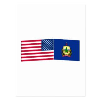 Banderas de Estados Unidos y de Vermont Tarjeta Postal
