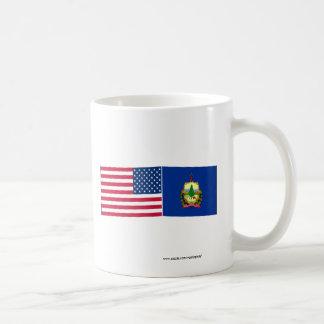 Banderas de Estados Unidos y de Vermont Taza Clásica