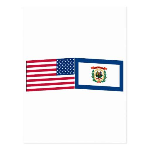 Banderas de Estados Unidos y de Virginia Postales