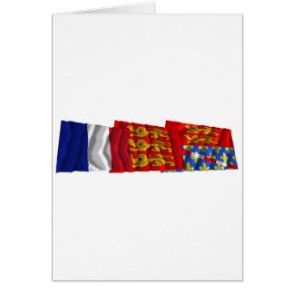Banderas de Eure, de Haute-Normandie y de Francia Tarjeta De Felicitación