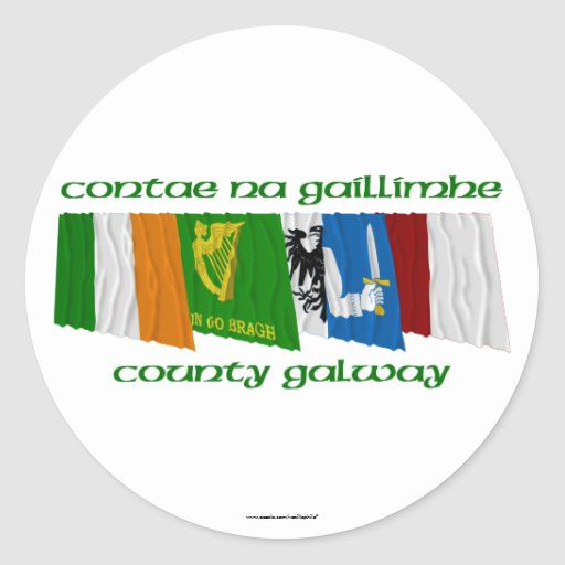 Banderas de Galway del condado Pegatinas Redondas