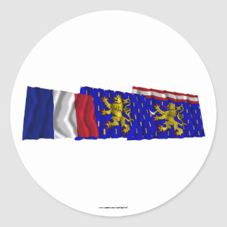 Banderas de Haute-Saône, de Franche-Comté y de Pegatina Redonda