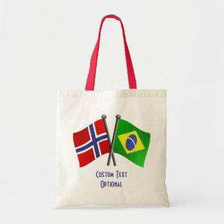 Banderas de la amistad de Noruega el Brasil Bolsa Tela Barata