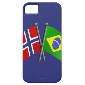 Banderas de la amistad de Noruega el Brasil iPhone 5 Funda