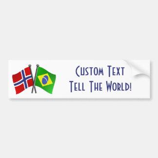 Banderas de la amistad de Noruega el Brasil Pegatina Para Auto