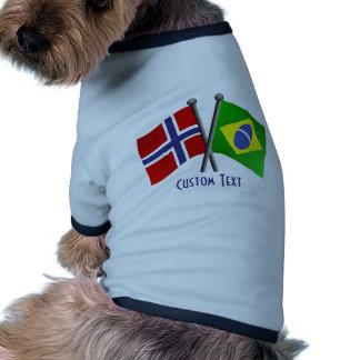 Banderas de la amistad de Noruega el Brasil Camiseta Con Mangas Para Perro