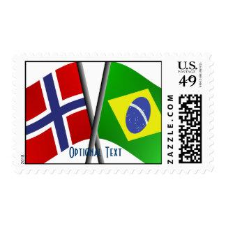 Banderas de la amistad del Brasil Noruega Sello
