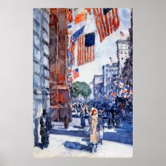 Banderas de la pintura en arte de la Quinta Avenid Póster