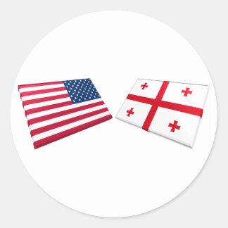 Banderas de la república de los E.E.U.U. y de Pegatina Redonda