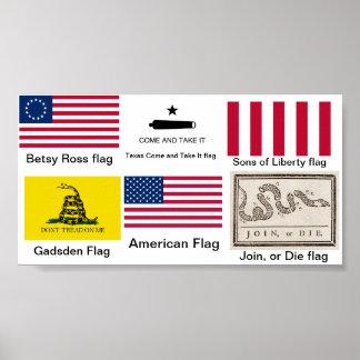 Banderas de la revolución americana póster