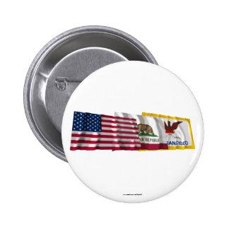 Banderas de los E.E.U.U., de California y de San F Pin