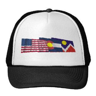 Banderas de los E.E.U.U., de Colorado y de Denver Gorros Bordados