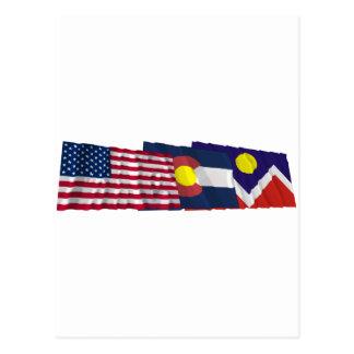 Banderas de los E.E.U.U., de Colorado y de Denver Postales