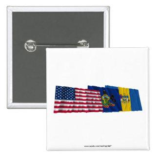 Banderas de los E.E.U.U., de Pennsylvania y de Phi Pin Cuadrada 5 Cm