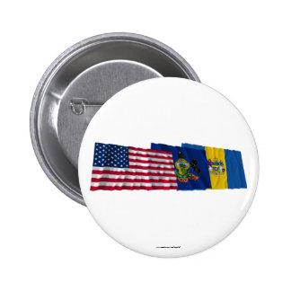 Banderas de los E.E.U.U., de Pennsylvania y de Phi Pin Redondo 5 Cm