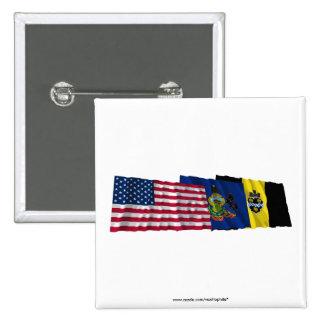 Banderas de los E.E.U.U., de Pennsylvania y de Pit Pin