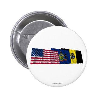 Banderas de los E.E.U.U., de Pennsylvania y de Pit Pin Redondo 5 Cm