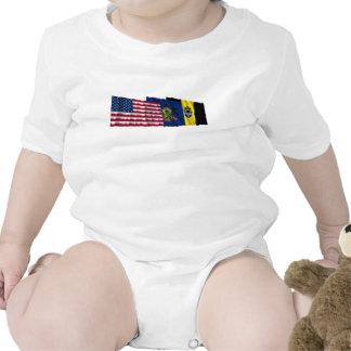 Banderas de los E.E.U.U., de Pennsylvania y de Pit Camisetas