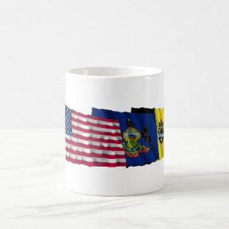 Banderas de los E.E.U.U., de Pennsylvania y de Taza