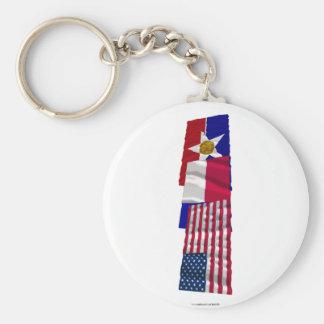 Banderas de los E.E.U.U., de Tejas y de Dallas Llavero Redondo Tipo Pin