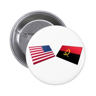 Banderas de los E.E.U.U. y de Angola Pins