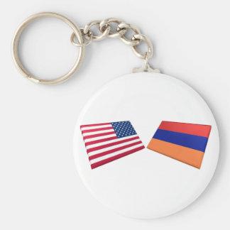 Banderas de los E.E.U.U. y de Armenia Llavero