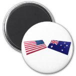 Banderas de los E.E.U.U. y de Australia Imán De Frigorifico