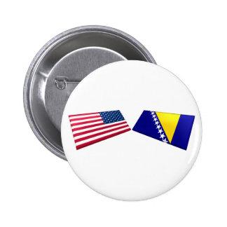 Banderas de los E E U U y de Bosnia y Herzegovina Pins