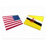 Banderas de los E.E.U.U. y de Brunei Postal