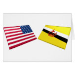 Banderas de los E.E.U.U. y de Brunei Tarjeta