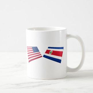 Banderas de los E E U U y de Costa Rica Taza De Café