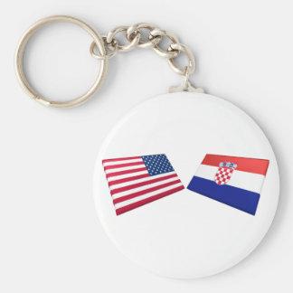 Banderas de los E.E.U.U. y de Croacia Llavero Redondo Tipo Pin