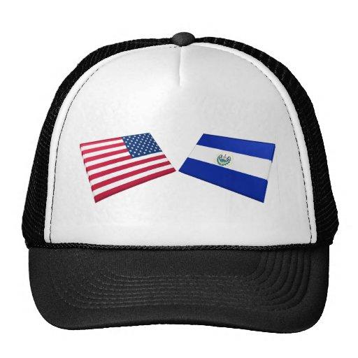 Banderas de los E.E.U.U. y de El Salvador Gorras De Camionero