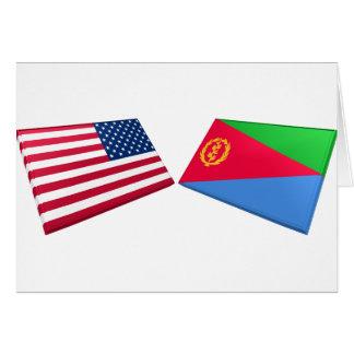 Banderas de los E.E.U.U. y de Eritrea Tarjeta De Felicitación