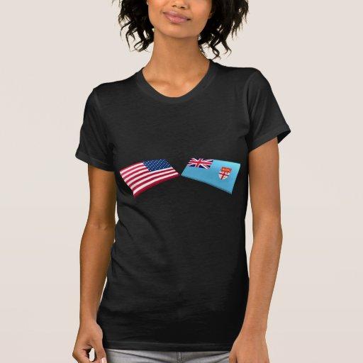 Banderas de los E.E.U.U. y de Fiji Camiseta