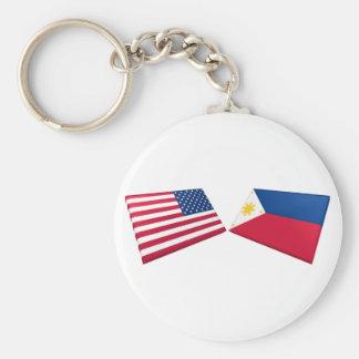 Banderas de los E.E.U.U. y de Filipinas Llavero Redondo Tipo Pin