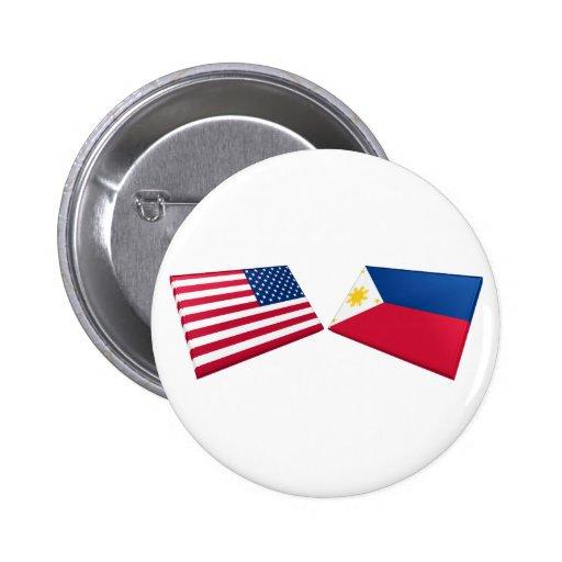 Banderas de los E.E.U.U. y de Filipinas Pin