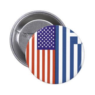 Banderas de los E.E.U.U. y de Grecia Pin Redondo De 2 Pulgadas