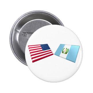 Banderas de los E.E.U.U. y de Guatemala Pins