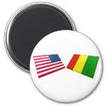 Banderas de los E.E.U.U. y de Guinea Imanes