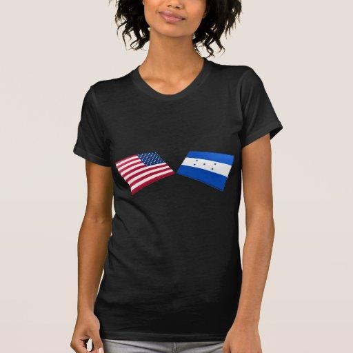 Banderas de los E.E.U.U. y de Honduras Camiseta