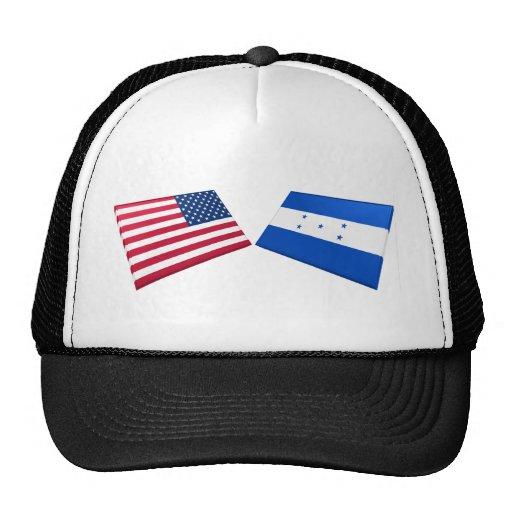 Banderas de los E.E.U.U. y de Honduras Gorros