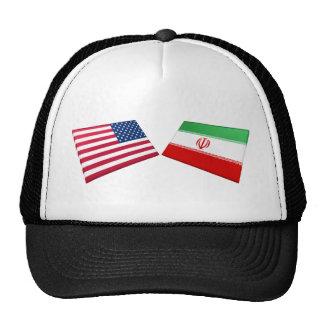 Banderas de los E.E.U.U. y de Irán Gorros Bordados