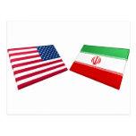 Banderas de los E.E.U.U. y de Irán Tarjetas Postales